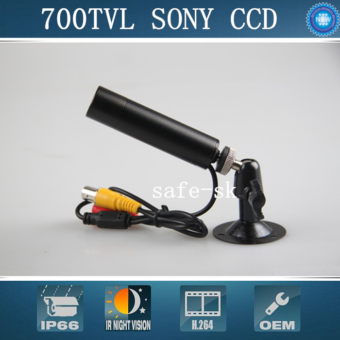 Free shipping 1/3 SONY SUPER HAD CCD 700TVL Mini bullet Camera Security Small Mini CCTV Camera WITH 8MM LENS mini bullet cvbs ccd camera 700tvl with headset mount for mobile surveillance security video 5v