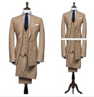 Latest Coat Pant Designs Champagne Brown Khaki Tweed Suit Men Formal Slim Fit Blazer Masculino Custom Groom Men Tuxedo 3 Piece
