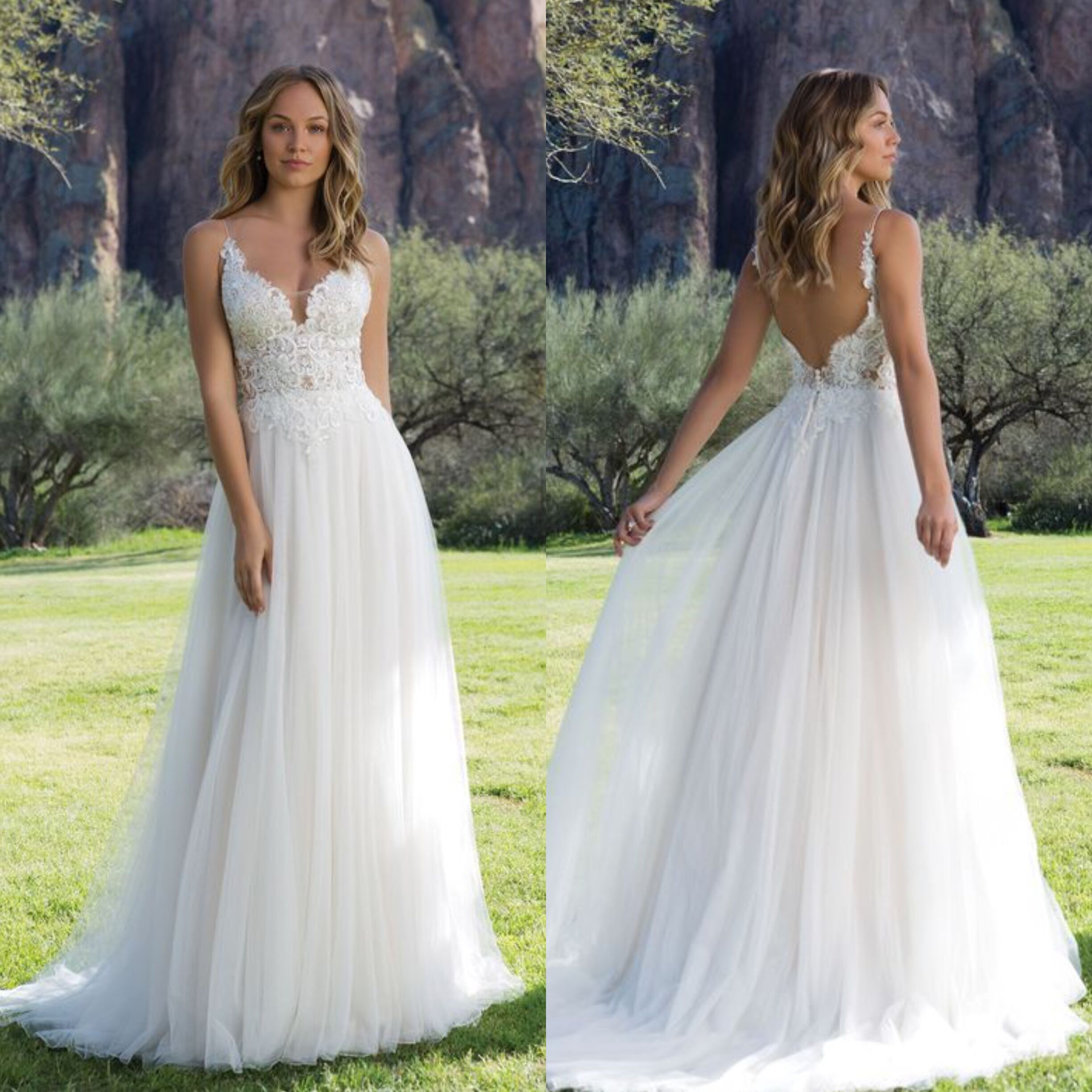 Slim Spaghetti Strap A-Line Gown With Illusion Bodice Sexy Backless Floor Length Beach Bridal Gowns