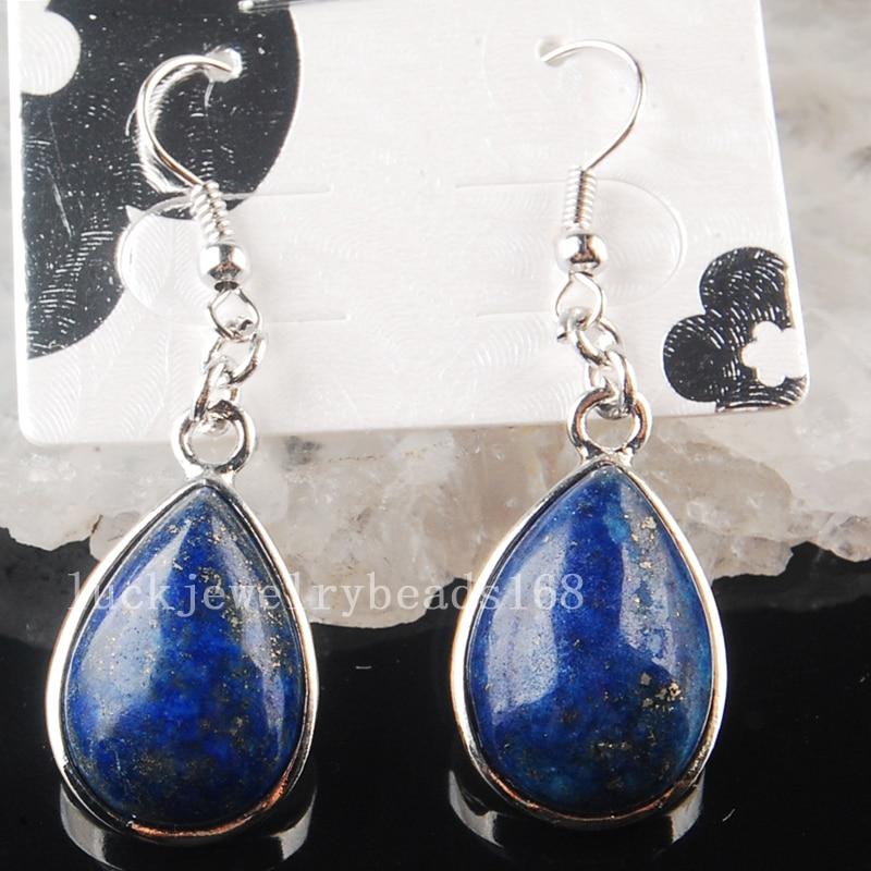 Free Shipping Fashion Jewelry 15x25mm Beatiful Natural Lapis Lazuli Drop Art Earrings 1Pair C3613