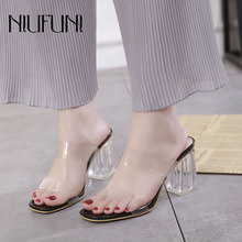Fashion Transparent Crystal Hollow Square Head Womens Sandals 2019 Summer New Thick High Heels Casual Solid Color Ladies Shoes