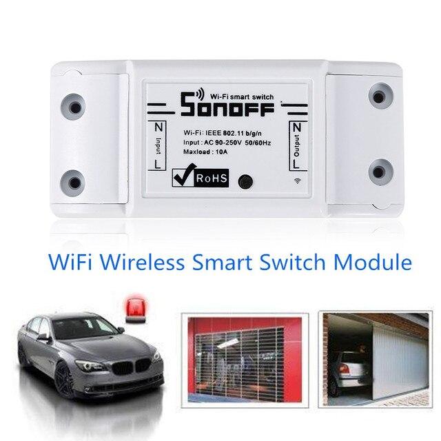 Nuevo Sonoff Wifi inteligente interruptor de Control remoto controlador 100-250 V interruptor temporizador Sonoff casa automatización a través de un SmartPhone