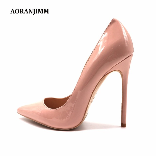 Free shipping real pic AORANJIMM claiss nude patent leather office lady OL style women lady 120mm high heel shoes pump