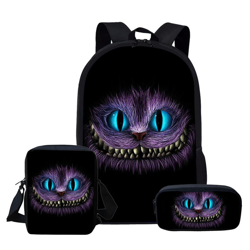 FORUDESIGNS Cheshire Cat Girls Schoolbags Kids Satchel School Backpack Children Primary School Bag For Boys Mochila Infantil