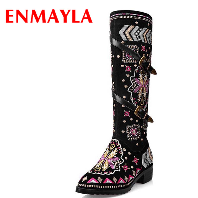 ENMAYLA National Style Embroidered Shoes Woman Buckle Motorcycle Boots Women Low Heel Round Toe Autumn Winter Knee High Boots enmayla ankle boots for women low heels autumn and winter boots shoes woman large size 34 43 round toe motorcycle boots