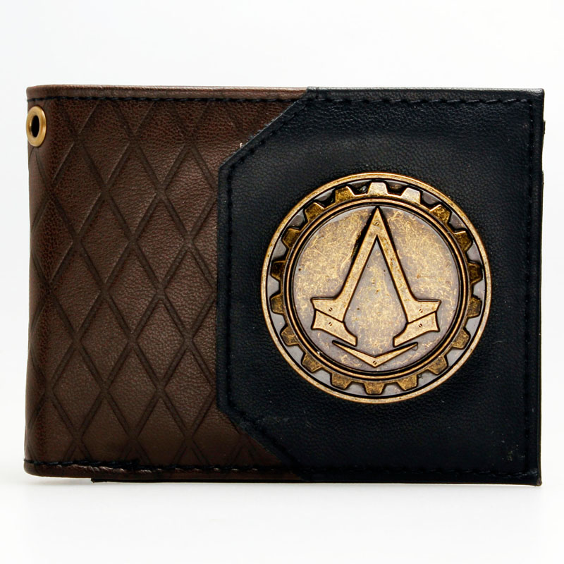 Assassins Creed Logo brown/black  Bi-Fold Wallet DFT-1985 mens batman logo badge bifold wallet dft 1327