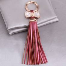 Luxurious Bow Leather Tassel Keychain