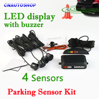 Car LED Parking Sensor Kit Display 4 Sensors 22mm 12V 7 Colors Reverse Assistance Backup Radar