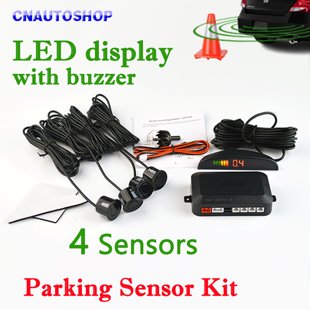 Viecar Car LED Parking Sensor Kit 4 Sensors 22mm Backlight Display Reverse Backup Radar Monitor System 12V 8 Colors