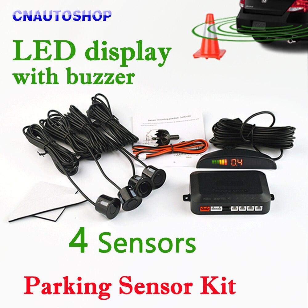 Viecar Voiture LED Parking Capteur Kit 4 Capteurs 22mm Rétro-Éclairage Par Sauvegarde Radar Moniteur Système 12 v 8 couleurs