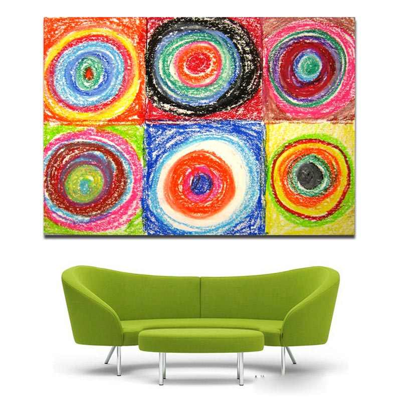 Wall Art Abstract Painting Kandinsky S Circles Masterpiece Momma Picture Printed On Canvas Modern Wall Art Decor