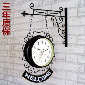 Double room watch European iron bell clock clock mute American modern minimalist two clocks