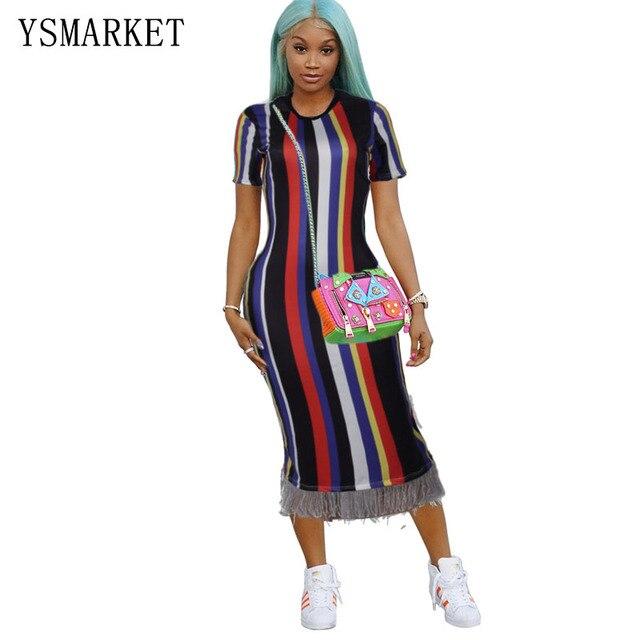 19b337e51893d Plus size tassel hem bodycon sexy club dress medium length stripe printed women  summer dresses short