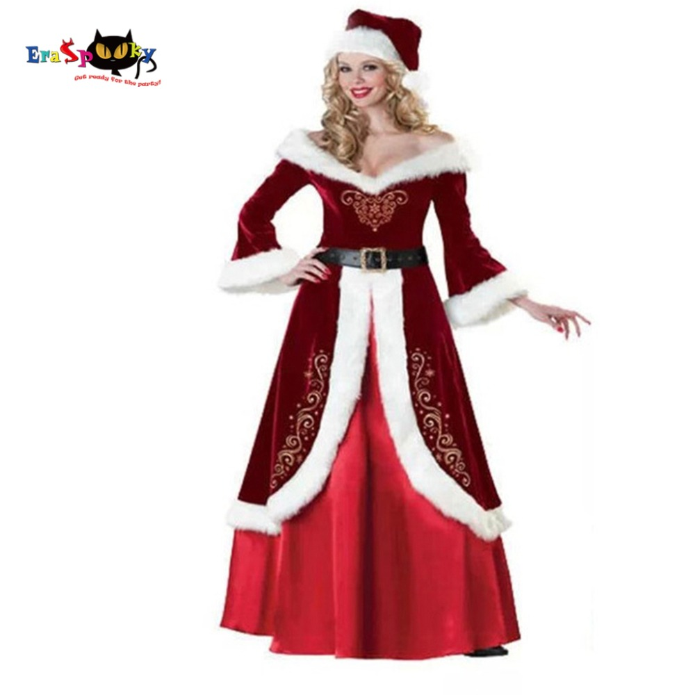 Christmas Costume For Women Fancy Dress Miss Santa Dress Elegant Queen Female Winter Long Christmas Dresses Hat Set 2017