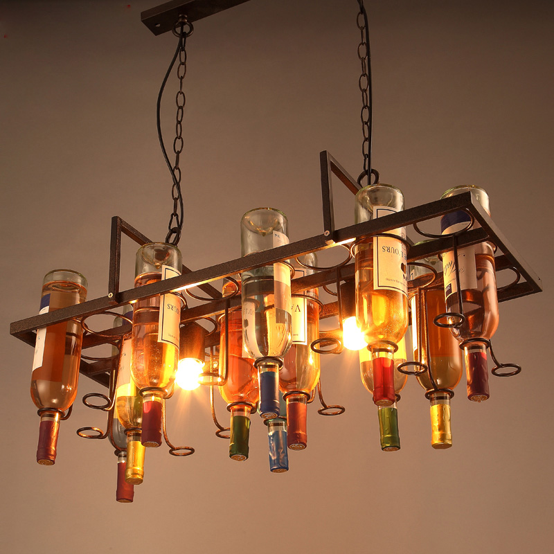 Loft Creative Wine Bottle Pendant Light Restaurant Bar