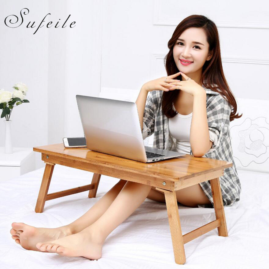 SUFEILE Laptop desk folding table lazy bed computer desk has Cartoon pattern Nan bamboo folding table bed Foldable desk D15 portable light modern laptop desk for bed folding computer desk lazy home office writing computer bed table standing desk