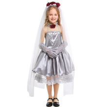 Deluxe Girls Ghost Bride Costume Cosplay Kids Halloween Princess Dress Clothing For Carnival Suit