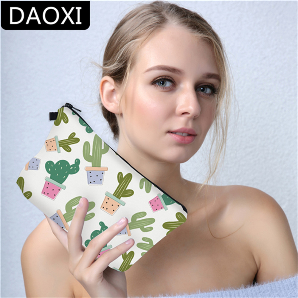 DAOXI Kaktusy Cactuses 3D Printing Cosmetic Bags Women Makeup Bag Pencil Case Vanity Neceser Maquillaje For Travel