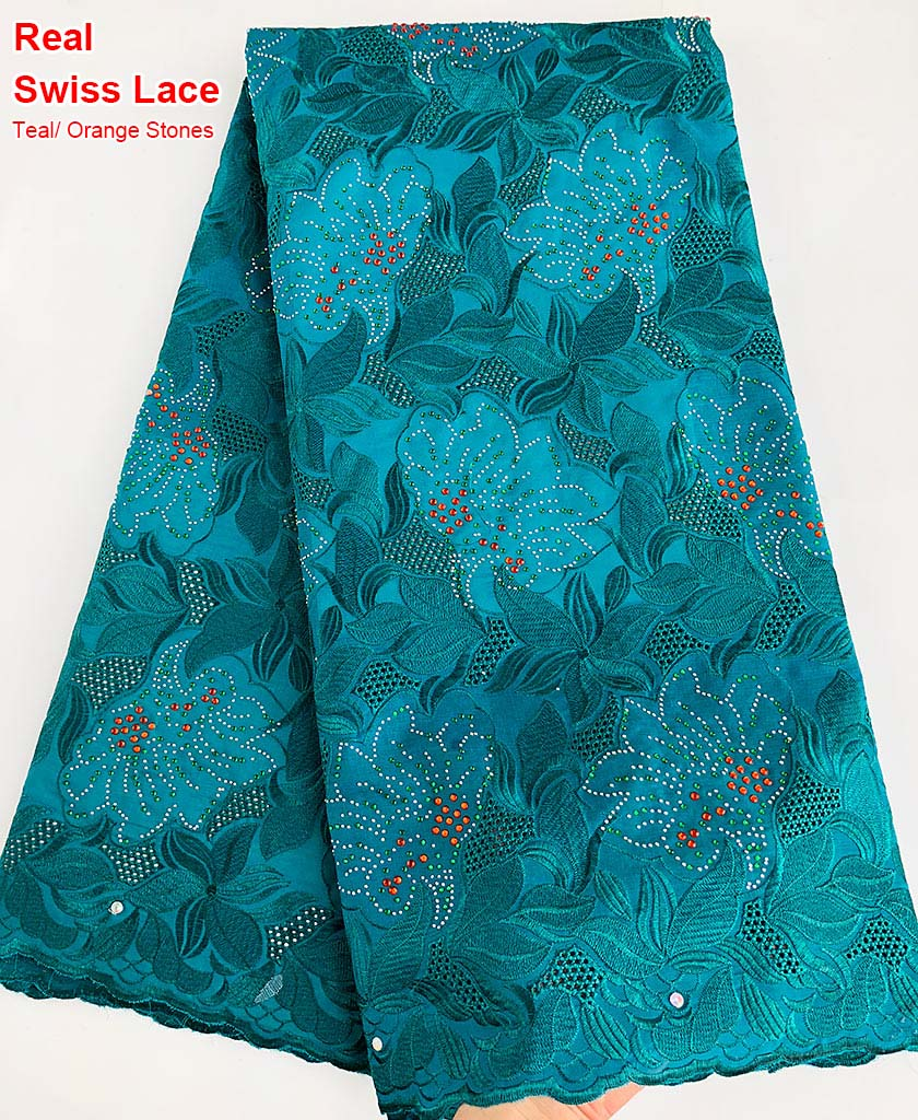5 yards Teal genuine Swiss voile lace African lace Nigerian sewing fabric slippery very soft high