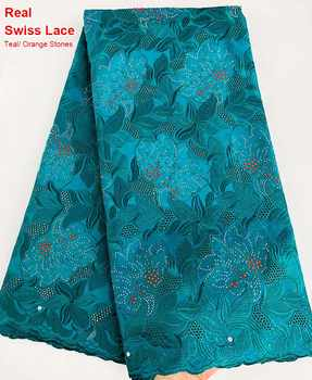 5 yards Teal genuine Swiss voile lace African lace Nigerian sewing fabric slippery very soft high quality wise choice - DISCOUNT ITEM  20% OFF All Category