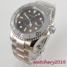 цена 40mm parnis Grey dial ceramic Bezel Sapphire Crystal Luminous Marks Date 21 jewels Miyota Automatic mechanical Mens Wristwatches онлайн в 2017 году
