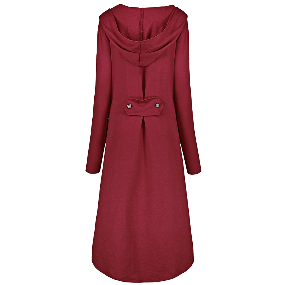 6f24931f6c933 Gamiss Plus Size 5XL Autumn Winter Coat Women 2017 Casual Double Breast  High Low Hem Hooded Swing Wine Red Female Long Coat
