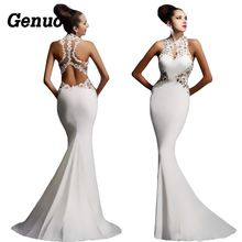 Genuo Sexy Party Dress Women Vintage Lace Hollow Out Patchwork Evening Maxi Dress Applique Stitching Sleeveless Long Dress стоимость