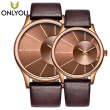 ONLYOU New Retro Male Watches Woman Watch Quartz Sport Wristwatches Fashion Simple Design Real Leather Band Couple Gift Clock