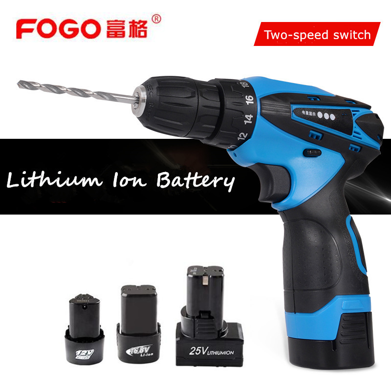 FOGO 12V 16 8V 25V Rechargeable Lithium Battery home Cordless drill Electric Drill Electric Screwdriver screw