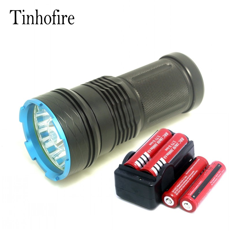 Tinhofire 20000 lumens King 12T6 LED 12 x CREE XM-L T6 LED Flashlight Torch For Camping Hunting Lamp with battery charger 20000 lumens skyray king 10 x cree xm l t6 led flashlight torch lamp light for hunting camping 4 pcs 18650 battery charger