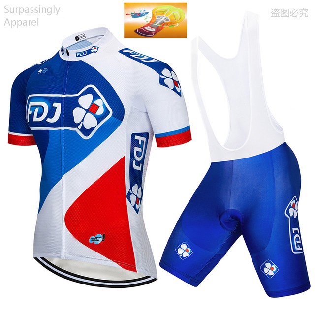 9fb3fd370 2018 TEAM Blue FDJ Cycling Clothing Bike Jersey Ropa Quick Dry Men MTB  Bicycle Summer Pro Cycling Jersey Sets Short Sleeve 16D