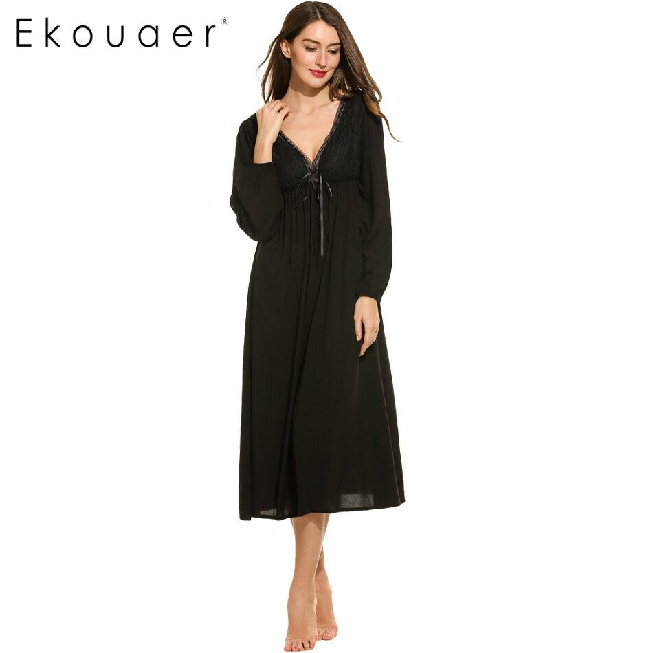 Ekouaer район ночная рубашка сексуальное платье ночи v-образным вырезом с длинным рукавом Цветочный Кружево лоскутное PA Кружево стиль ночная р...