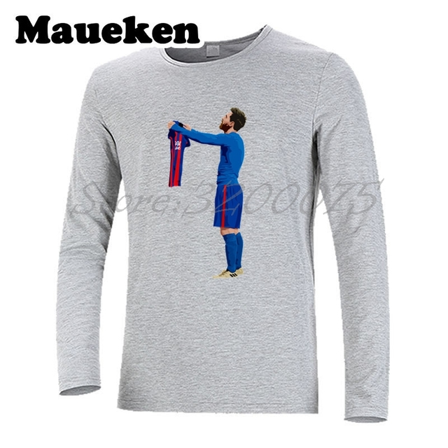 abc5126a659 Men Autumn Winter Lionel Messi #10 worship 500 Goals T Shirt Men T-shirts  for messi fans gift Long Sleeve Tee W1101106