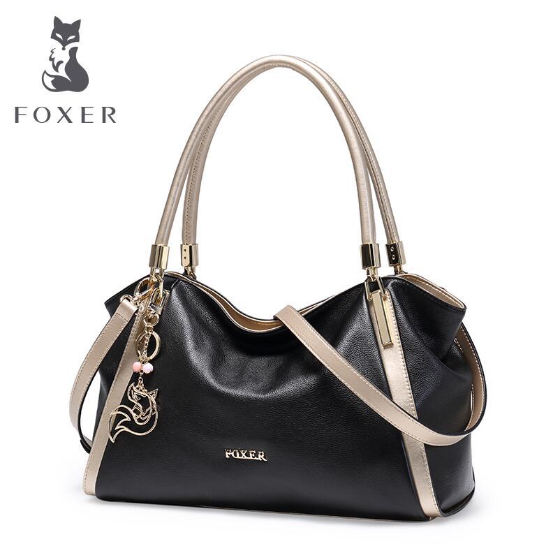 FOXER 2017 New quality Genuine Leather Fashion bag handbag bulk Messenger bag luxury handbags women bags designer