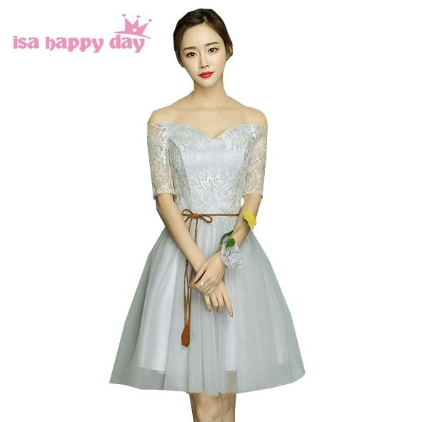 Short Fairy Off The Shoulder Grey Prom Dress Boat Neck Formal Girls