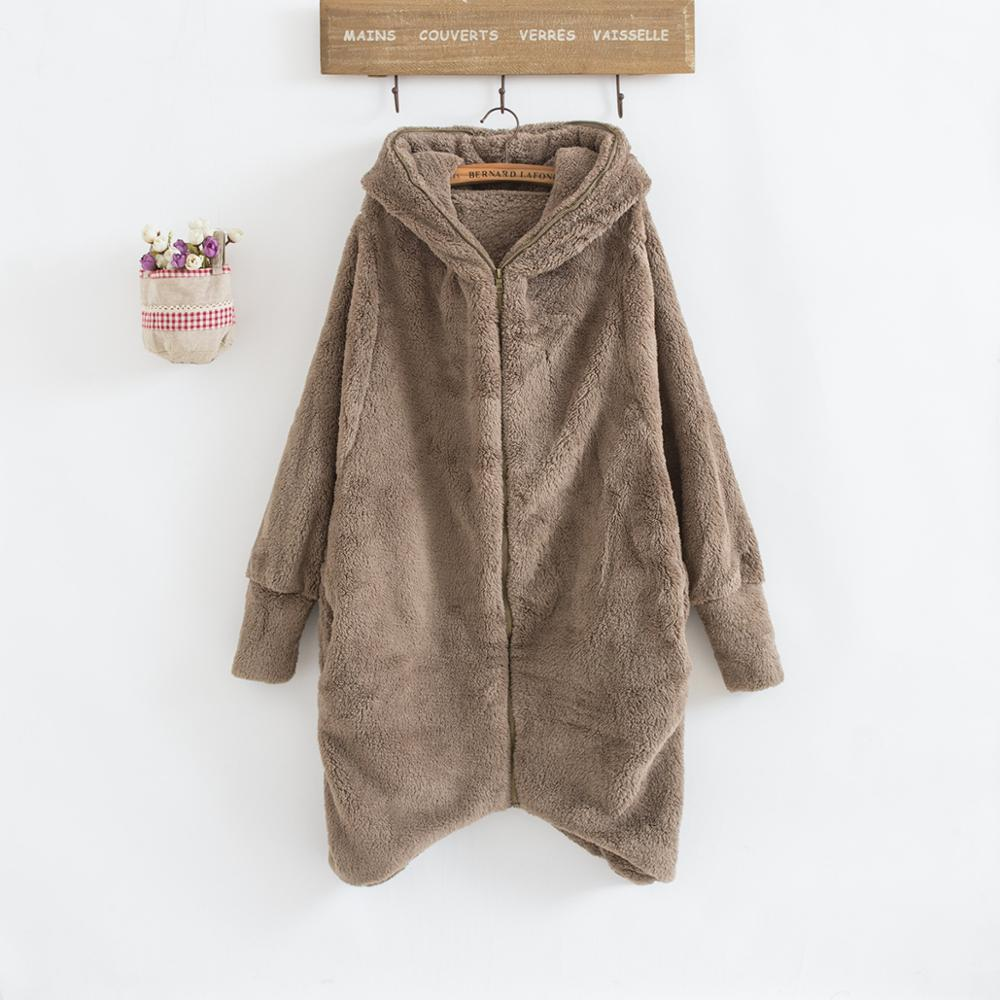 все цены на Cheshanf Winter Fashion Women Hooded Cardigan Open Front Long Sleeve Fluffy Fleece Coat Solid Warm Outerwear Zipper Sweater Coat