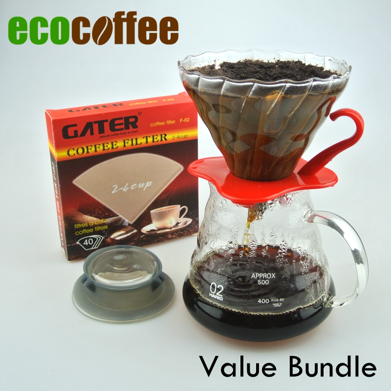Eco Coffee New Arrival Coffee Value Bundle Ceramic Coffee Dripper V60 + 580ML Server + 102 Filters