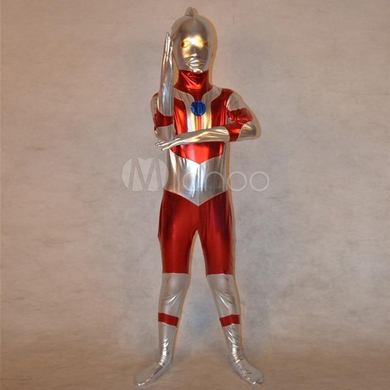 High Quality Children's/Adult Halloween Anime Ultraman SuperHero Cosplay Costumes Lycra Zentai Costume Full Body Suit 2 Colors