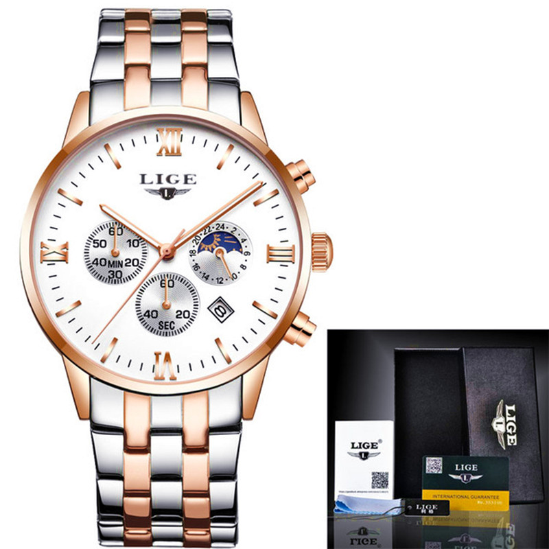 Mens Watches Top Brand Luxury LIGE Moon Phase full steel Watch Man Business Fashion Quartz Watches men Outdoor sports Relogio new fashion men business quartz watches top brand luxury curren mens wrist watch full steel man square watch male clocks relogio