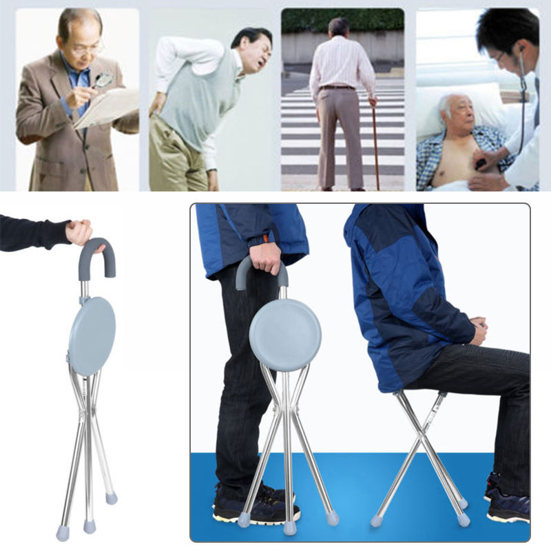 1pc Adjustable Folding Portable Aluminium Massage Walking Stick Tripod Stool Health Care Travel Cane Chair Seat For Old man