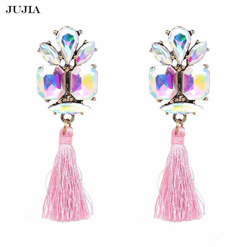 Fesyen Trend Perhiasan Perkahwinan Charm Fringe Dangle Earrings Pernyataan Berlian Imitasi Jumbai Anting Drop Untuk Wanita