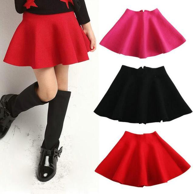 Children Girl Waist Skirt Kids Wool Knit Skirt Red Black Baby Tutu Skirt Pettiskirt Tutu Skirt Children Vestidos Infantil