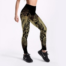 Qickitout Low Women Fitness Leggings Cartoon Printed High Waist Pants Plus Size S-4XL