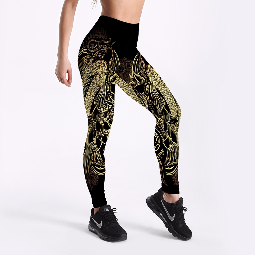 New 2018 Gothic Gold Dragon Women leggings xxxl xxxxl Plus Size Snowflakes Cloudy Printing Sexy Full Length Elastic Women Pants
