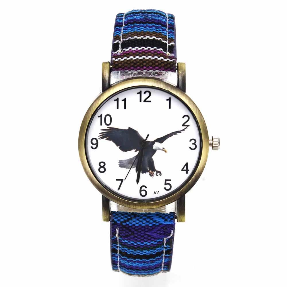 Bald Eagle American Hawk Eagles Pattern Dial Watches Fashion Casual Men Women Stripes Denim Band Sport Quartz Wrist Watch стоимость