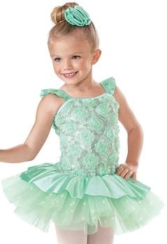 Girl Ballet Dancing Dress Kids Cute Princess Skirt Ballet Tutu Dress Children Flower Embroidery Dress Poncho Dress D-0499