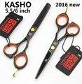 De alta calidad de Japón KASHO Profesional 5.5/6 pulgadas tijeras del pelo set peluquería peluquería del corte del pelo tijeras tijeras de entresacar