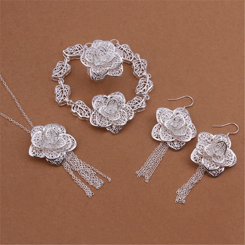 abe002dada8a Plata al por mayor de la alta calidad plateó la joyería encanto de la  manera elegante Hollow flores collar pulseras cuelgan Pendientes s435