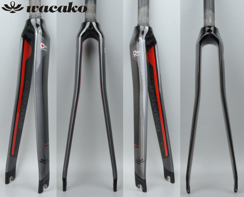 wacako full Carbon Fork New Style Road Bike Fork Bicycle Parts 1-1/8 700c Superlight 350g 3k Finish Cycling Accessories carbon road bike fork 28 6mm fixed gear aluminum alloy 700c toothless fork bicycle parts