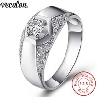 Vecalon Handsome Jewelry Wedding Band Ring For Men 1ct Diamonique Cz 925 Sterling Silver Male Engagement